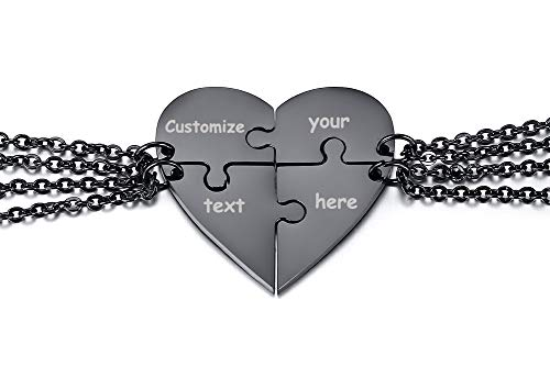 XUANPAI Stainless Steel Personalized Puzzle Necklace 4 Piece Best Friends BFF Friendship Pendant Puzzle Piece Set Heart -