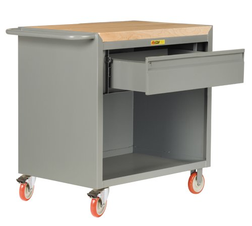 Heavy Duty Cabinet Bench (Little Giant MCJ-2436-HDTL Mobile Bench Cabinet with Heavy-Duty Drawer and 1-3/4 Butcher Block, 1200 lbs Capacity, 26