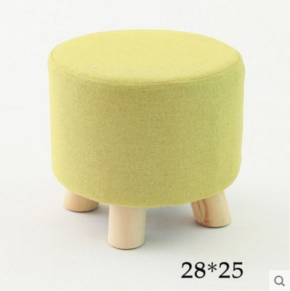 Stool Dana Carrie Stylish and Creative on a Low Round Fabrics Low Mounds of Tea a Few Home Sofa Chair Solid Wood Changing Shoes is Small Benches, Matcha Green Round