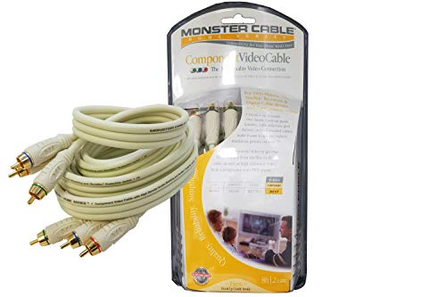 Monster 24k Gold Component Video Cables with Audio Video (8 Feet) - Gold Plated RCA to RCA - Supports 1080i (Retail Packing) (24k Gold Video)