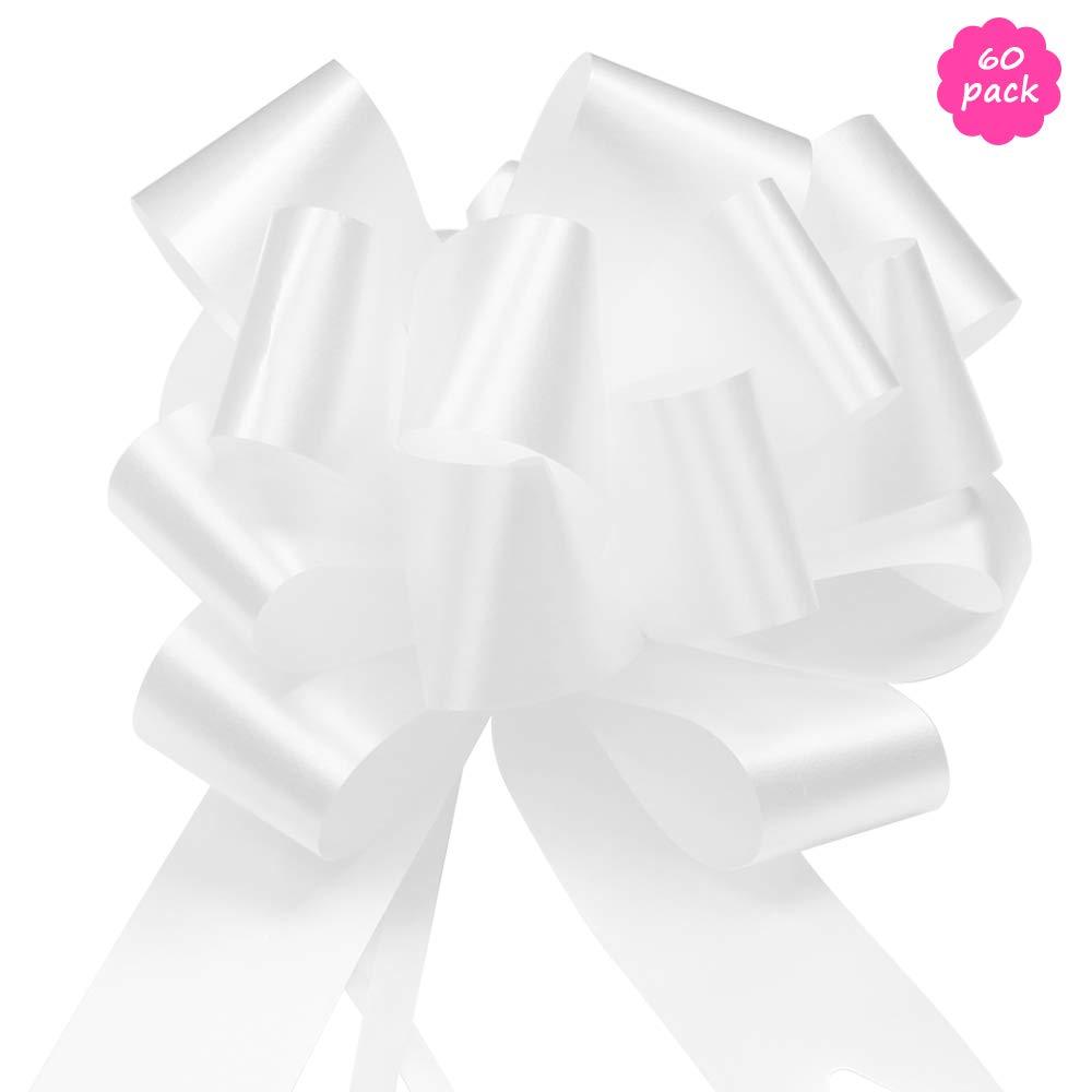 Pull Bow per Auto Addobbo Alberi di Natale YZPUSI 60 Bianco Matrimonio Coccarde Decorativi Fiocco Regali Pacchetti Sedie Battesimo