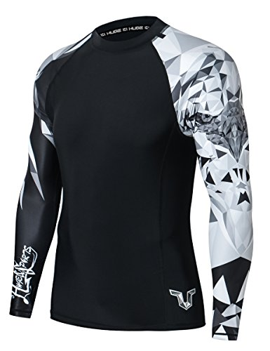 HUGE SPORTS Wildling Series UV Protection Quick Dry Compression Rash Guard (Eagle,2XL)