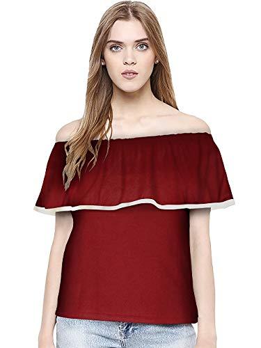 78622b71c3c Bella Creation Girl s Off Sholder Plain Knitted Maroon T-Shirt