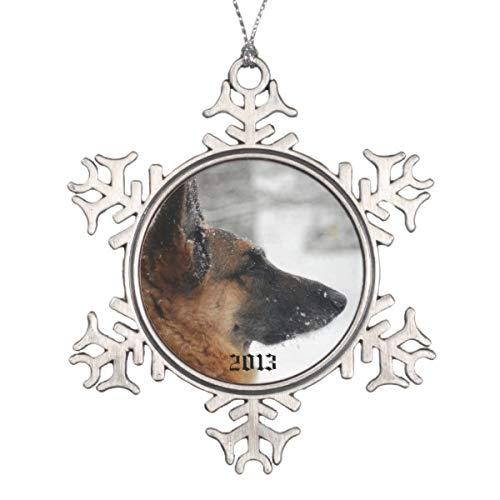 - TiuKiu German Shepherd Snowflake Pewter Christmas Flat Ornament Christmas/Holiday/Love/Anniversary/Newlyweds/Keepsake - 3