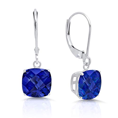 14k White Gold Created Sapphire Dangle Leverback Earrings (8mm)
