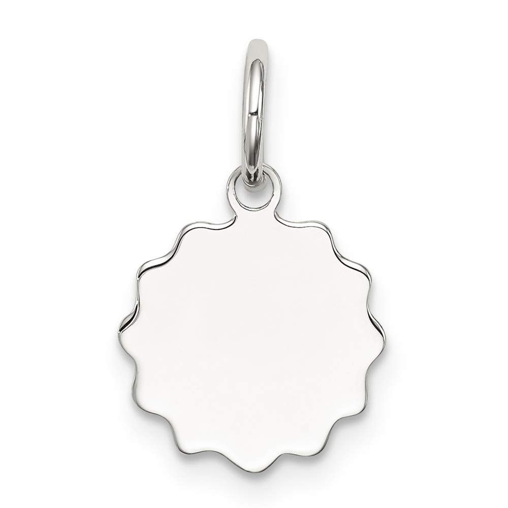 Mireval Sterling Silver Anti-Tarnish Treated Engraveable Polished Front and Satin Back Disc Charm