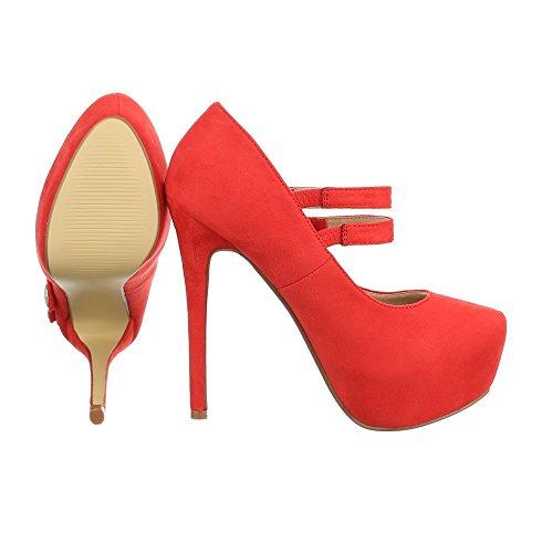 Ital-Design High Heel Pumps Damenschuhe High Heel Pumps Pfennig-/Stilettoabsatz High Heels Schnalle Pumps Rot