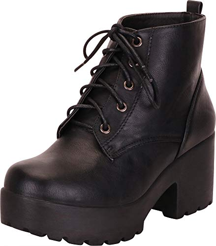 Cambridge Select Women's Retro 90s Round Toe Lace-Up Chunky Platform Block Heel Ankle Bootie,6.5 M US,Black ()