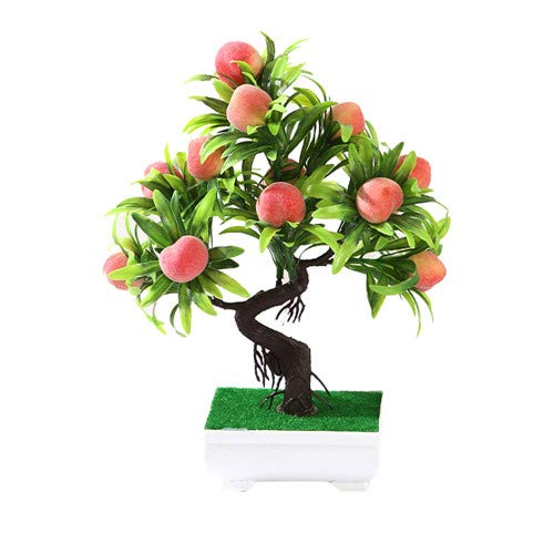 NKJHUFBGSW Orange Peach Lenmon Fruit Tree Potted Bonsai Simulation Decoration Ornaments Artificial Plant Bonsai Home Decor ZZLJ15526