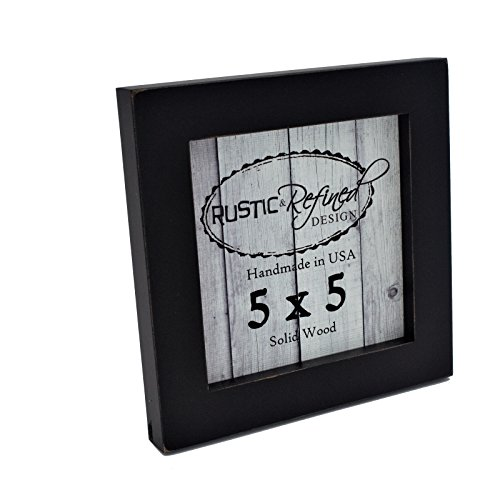 5x5 Solid Wood Made in USA Picture Frame with 1 Inch Border (Gallery Collection) - ()