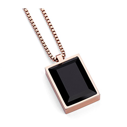 - MCSAYS Luxury Black Square Gem Small Pendant Necklace Crystal Rhinestone Fashion Choker Rose Gold Jewelry (Rose)