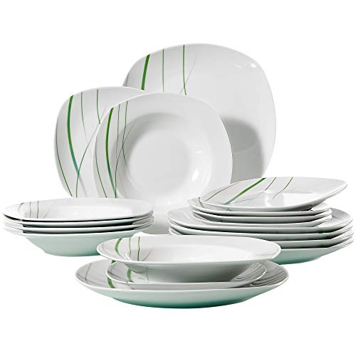 VEWEET 18-Piece Ceramic Stoneware Dinnerware Set Ivory White Plate Sets Green Stripe Patterns, Service for 6 Dinner Plate, Salad Plate, Dessert Plate (Aviva Series)