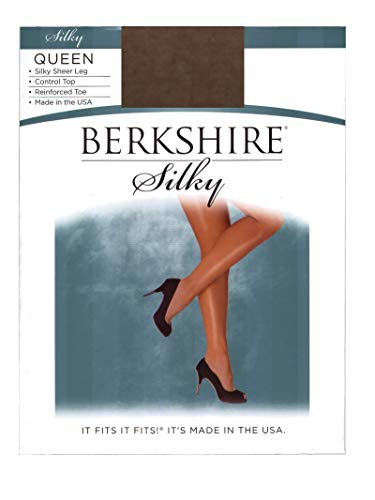 Berkshire Women's Plus-Size Queen Silky Sheer Control Top Pantyhose 4489,French Coffee, Queen Petite ()