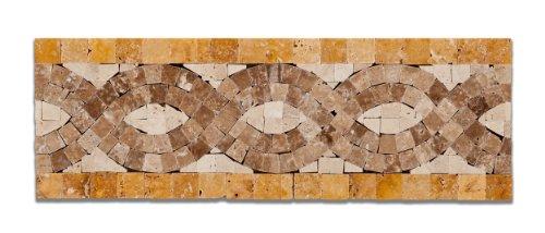 Ivory & Noce & Gold Travertine Infinity Polished Border / Listello - Sample Piece