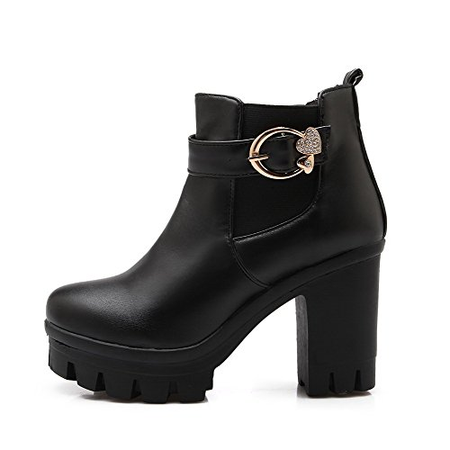 Women's Toe high Heels Solid Boots Ankle Round WeenFashion Closed High PU Black da4qBtW7