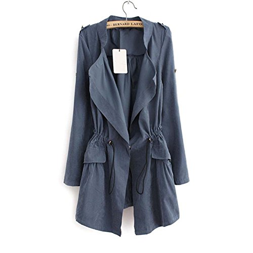 Women Autumn Office Long Trench Full Sleeve Drawstring Waist Coats Feminine Casual Streetwear Tops As Picture M