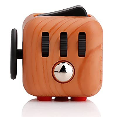 Omaky Fidget Cube Anxiety Attention Toy With Delicate Box Relieves Stress And Anxiety And Relax for Work, Class, Home (Wooden color) by Omaky