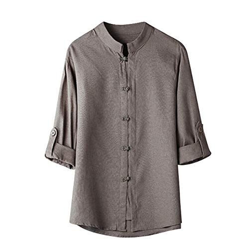 Mens T Shirts Men Classic Chinese Style Kung Fu Button Down Shirts Tops Tang Suit 3/4 Sleeve Linen Casual Dress Shirt (Gray, M)