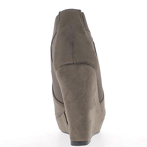 Botas de cuña taupe tacón 11,5 cm look del ante con plataforma