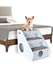 Petsfit 3-Steps Solid Wood Dog Stairs with Carpet on Top