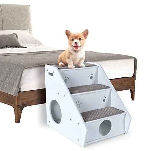Stairs Pet Three Step (Petsfit 3-Steps Dog Stairs,White(21x17x20 inch))