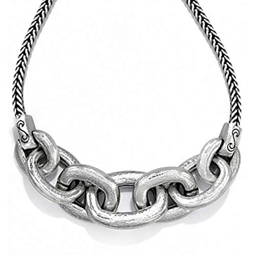 (Brighton Mercer Hammered Link Chunky Necklace Silver Plated)