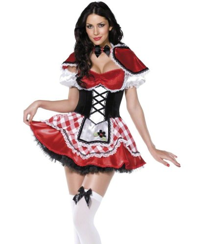 Smiffys Women's Fever Deluxe Red Riding Hood Costume, Dress with Mock Corset and Apron, Cape and Sleeves, Once Upon a Time, Fever, Size 6-8, 36194