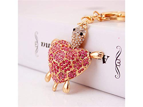 Car Keychain, Cute Diamond Love Back Shell Turtle Keychain Animal Key Trinket Car Bag Key Holder Decorations(Pink) for Gift by Huasen