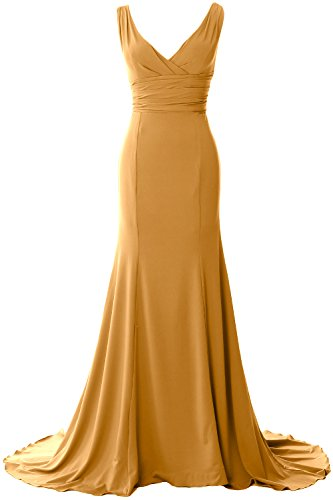 MACloth Women Long Mermaid V-Neck Jersey Wedding Bridesmaid Dress Formal Gown Gold