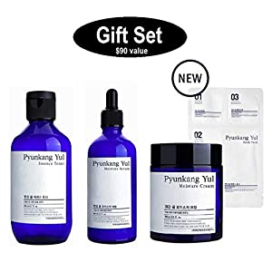 Pyunkang yul Gift Set with Essence Toner 200ml + Moisture Serum 100ml + Moisture Cream 100ml (All full sized Set in a Customized Gift Box as the Photo) Comes with Free FACIAL-MASK Headband Gift.