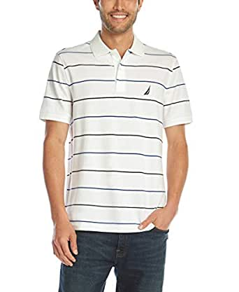 Nautica Men's Classic Fit Short Sleeve 100% Cotton Pique Stripe Polo Shirt, Bright White, Small