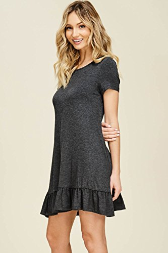 Comfy Dresses Ruffle Round Bottom Grey Short Mid Neck with Sleeve Swing Women's Pockets Mini Annabelle 5xYn11