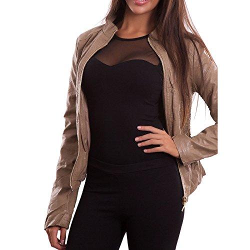 M giubbotto LU9003 donna ecopelle maniche nero giubbino Giacca giacchetto Beige lunghe nuovo UzI8w