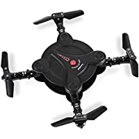 ALLCACA Mini RC Quadcopter Foldable Pocket Drone Portable WiFi FPV Selfie Quadcopters with 0.3MP Camera and Altitude Hold Function, Black