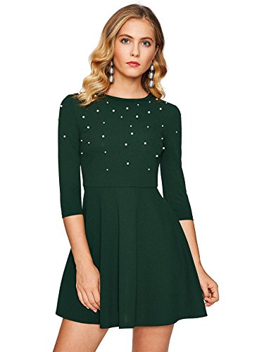 (Floerns Women's Beaded Fit and Flare Short Skater Dress Green S)