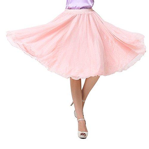 OCHENTA Femme Jupe Basic A Genou Casual En Mousseline de Soie Skirts Nude Rose