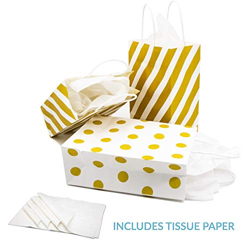 12 Gold Gift Bags with Tissue Paper, Polka Dot, Striped, Chevron Metallic Gift Bags with White Tissue Wrapping Paper for Weddings, Anniversaries, Engagements Baby or Bridal Showers]()