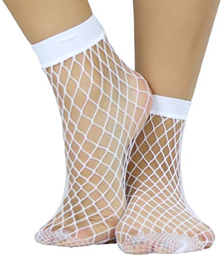 ToBeInStyle Women's Elegant Diamond Net Anklet Socks - White - OS (Thigh High Rhinestone Anklet)