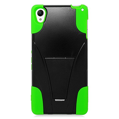 For Sony Xperia Z3 - EagleCell Hybrid Protective Skin Case Cover with Stand - Green/Black