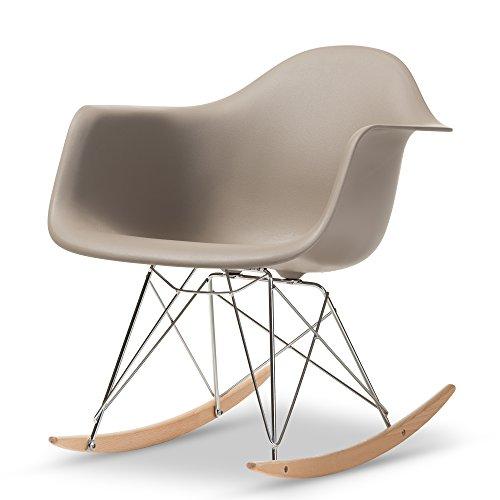 Baxton Studio Dario Plastic Mid-Century Modern Shell Chair, Grey