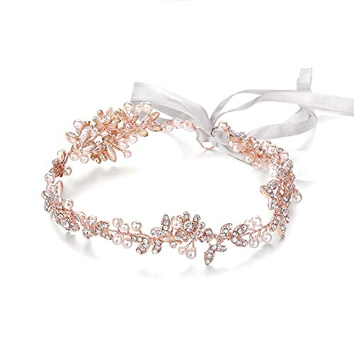 (Ammei Rose Gold Vintage Bridal Crystal Headbands Wedding Headpieces Hair Pieces For Bride Bridesmaids Flower Girl Prom Hair Accessories With Ivory Ribbons Hair Vines)