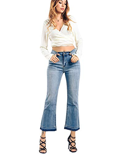 Women's Flared Fit Jeans Bell Bottom Denim Pants with Contrast Wash Hem Detail Light Blue 12