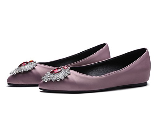 Scarpe Da Donna Eleganti Easemax Strass Punta Bassa Scarpe Basse Nascoste Viola