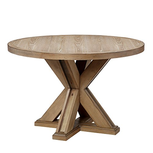 Madison Park FPF20-0461 Xavier Dining Round Solid Wood, Pedestal Base Mid-Century Modern Style Dinner Tables, 46