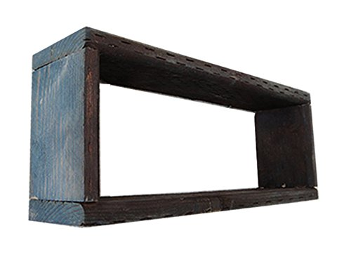 Wood/Wooden Shadow Box Display - 12'' x 4'' - Navy Blue Wash - Rustic Decorative Reclaimed Distressed Vintage Appeal by IGC