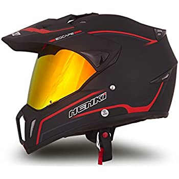 Dual Sport Helmet by NENKI Full Face Motocross & Motorcycle Helmets Dot Approved With Iridium Red Visor Attached Clear Visor NK-310 (L, Matt Black & Red)