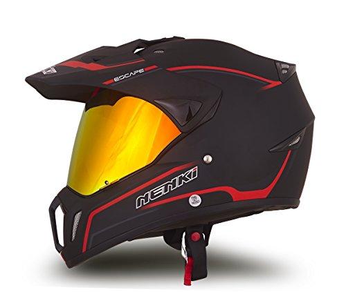 Dual Sport Helmet by NENKI Full Face Motocross & Motorcycle Helmets Dot Approved With Iridium Red Visor Attached Clear Visor NK-310 (L, Matt Black & Red)