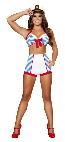 Roma Costume 3 Piece Playful Pinup Sailor Costume, White/Blue, -