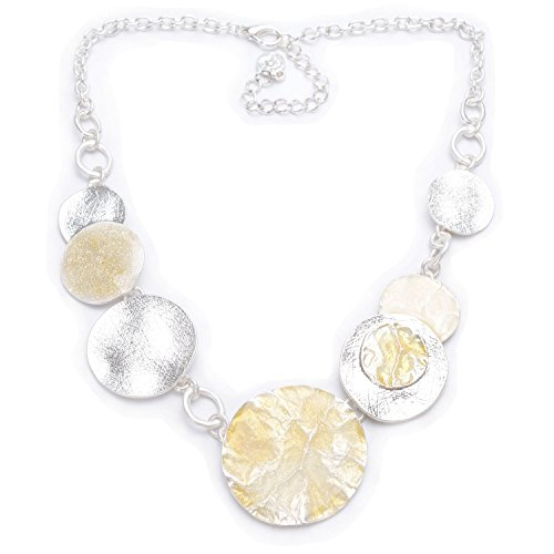 Silver-Tone Alloy Round Metal Texture Chain Necklace 16.5 Inches, New Silk ()