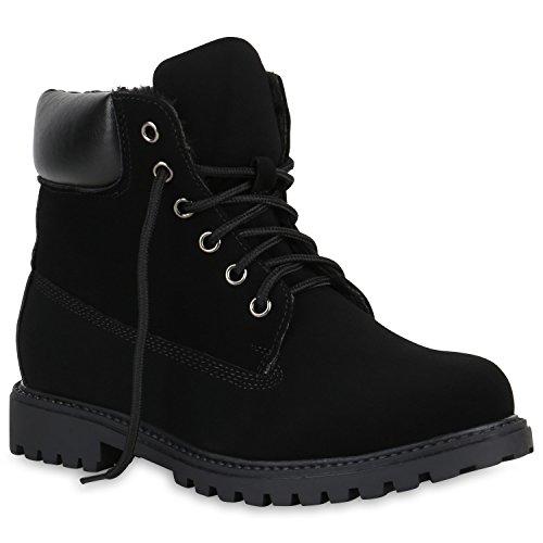 Stiefelparadies Damen Herren Unisex Worker Boots Profil Robuste Stiefeletten Outdoor Schuhe Glitzer Schnürer Print Schuhe Übergrößen Flandell Schwarz Velours